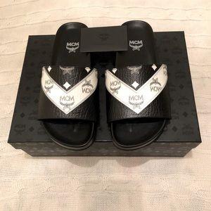 MCM Men's Leather slide sandals.